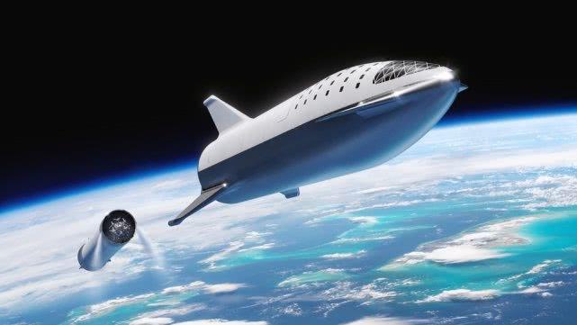 这是SpaceX的大猎鹰火箭(BFR)发射到太空的渲染图。在这里,飞船正在脱离助推器