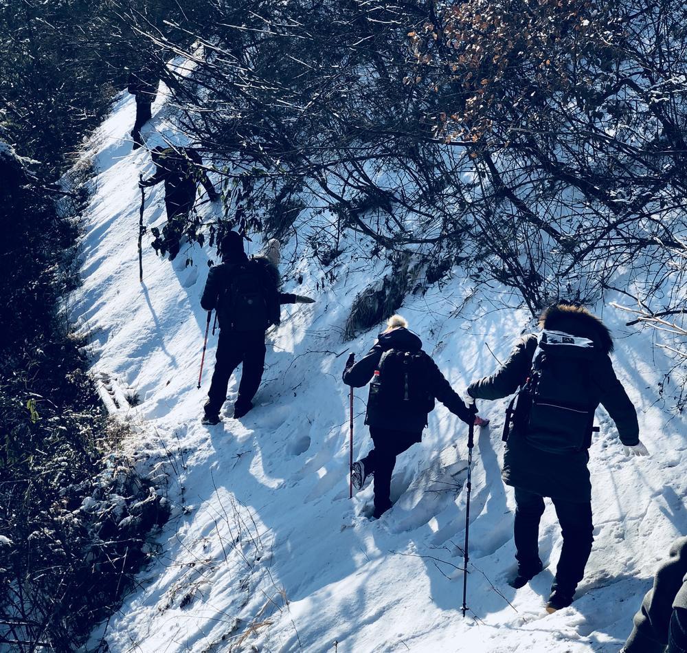 朱旭光带领团队攀登大雪覆盖的清凉山。